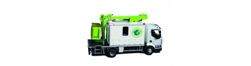 Plataforma sobre camión- caja taller